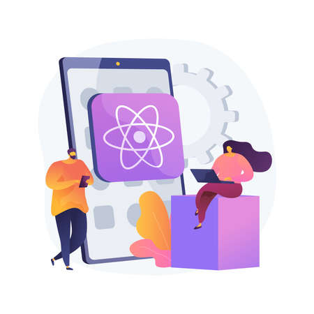 React native mobile app abstract concept vector illustration. Illustration