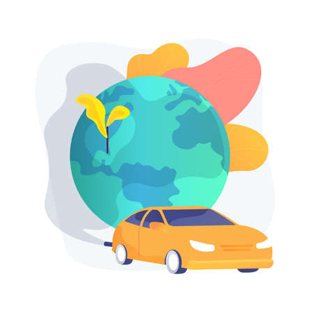 Motor vehicle pollution abstract concept vector illustration. Vettoriali