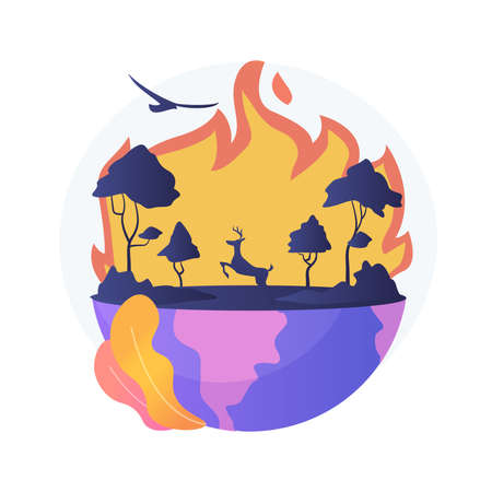 Wildfires abstract concept vector illustration.