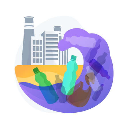 Coastal pollution abstract concept vector illustration.