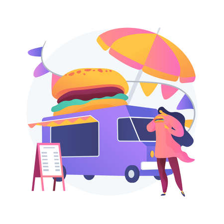 Street food festival abstract concept vector illustration. Ilustração