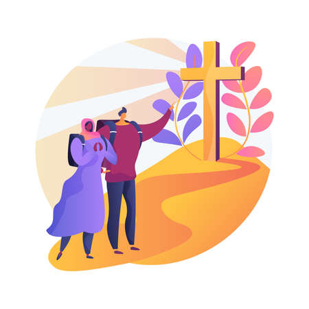 Christian pilgrimages abstract concept vector illustration.
