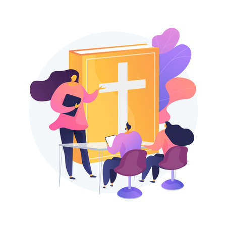 Theological lectures abstract concept vector illustration.