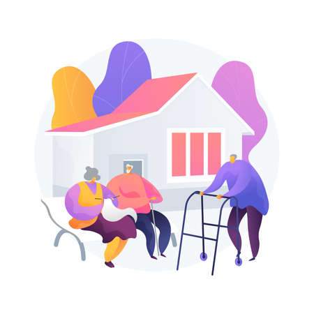 Communities for older people abstract concept vector illustration.