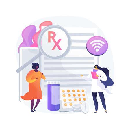 Online prescription system abstract concept vector illustration.