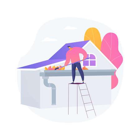 Gutter cleaning abstract concept vector illustration. Vektorgrafik