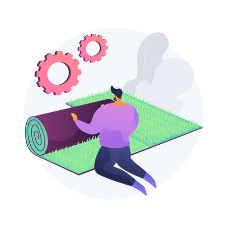 Lawn repair abstract concept vector illustration.