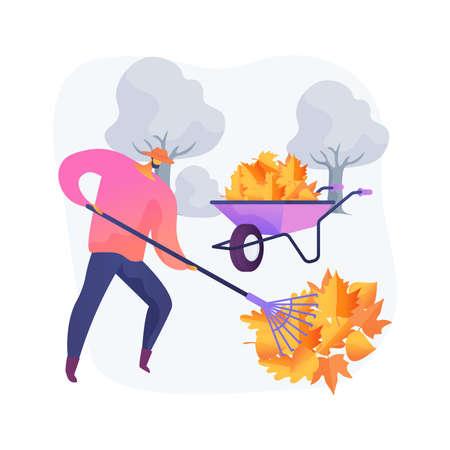 Fall clean-up abstract concept vector illustration. Vektorgrafik
