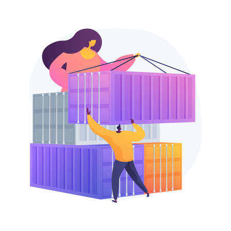 Container transportation abstract concept vector illustration.  イラスト・ベクター素材