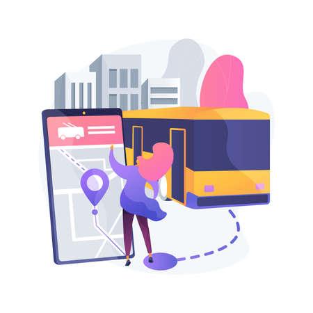 Autonomous public transport abstract concept vector illustration.