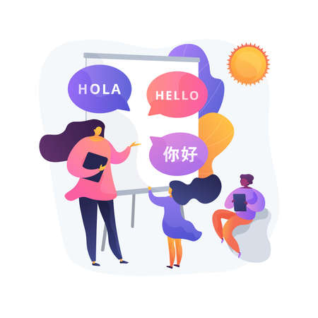 Language learning camp abstract concept vector illustration. Vectores