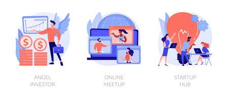 Business startup and communication abstract concept vector illustrations. Ilustração