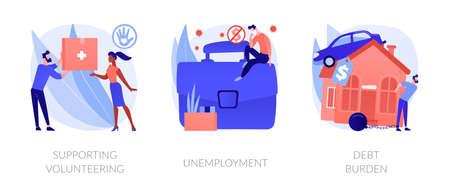 Socio-economic outbreak impact abstract concept vector illustrations. Ilustração