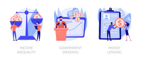 Money distribution abstract concept vector illustrations. Ilustração