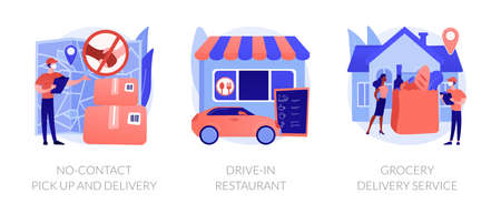 Safe way to get food and essentials abstract concept vector illustrations.