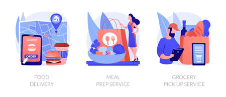 Quarantine food essentials supply abstract concept vector illustrations.