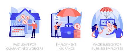 Governmental support for quarantined worker abstract concept vector illustrations. Ilustração