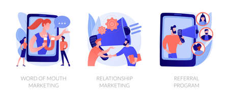 Customer oriented marketing strategy abstract concept vector illustrations. Ilustração