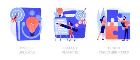 Project life cycle abstract concept vector illustrations.