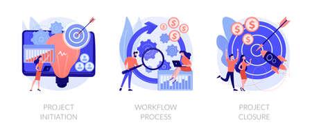 Project implementation abstract concept vector illustrations. Ilustração