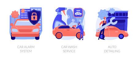 Automobile care service abstract concept vector illustrations. Ilustração