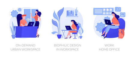 Workplace organization abstract concept vector illustrations.