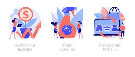 Environmentally friendly business abstract concept vector illustrations. Ilustração