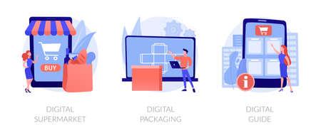 Online services abstract concept vector illustrations. Ilustração