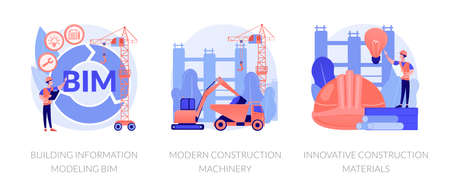 Construction technology innovation abstract concept vector illustration set. Building information modeling, modern construction machinery, new construction material, heavy equipment abstract metaphor.