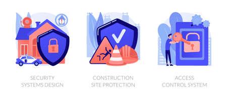 Construction security services abstract concept vector illustrations. Ilustração