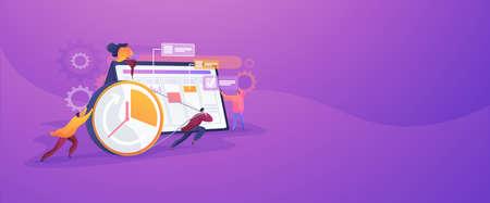 Time management concept banner header Vektorové ilustrace
