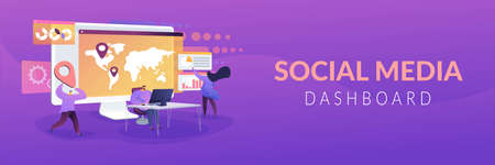 Social media dashboard concept banner header