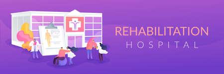 Rehabilitation center concept banner header Illustration
