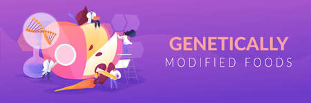 Genetically modified foods concept banner header