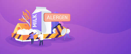 Food allergy concept banner header Иллюстрация