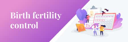 Female contraceptives concept banner header Ilustração