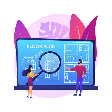 Real estate floor plan abstract concept vector illustration. Vettoriali