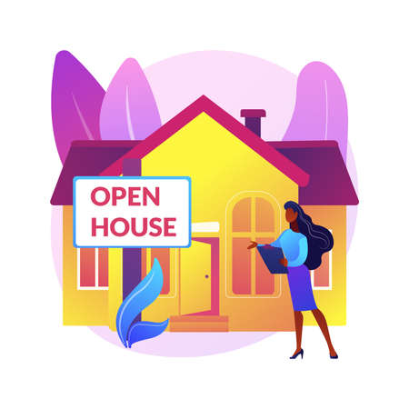 Open house abstract concept vector illustration.