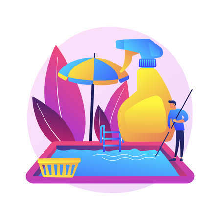 Pool and outdoor cleaning abstract concept vector illustration.