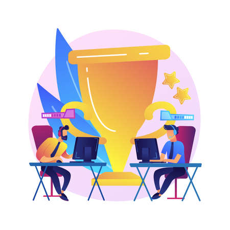 Office esport competition abstract concept vector illustration. Video game tournament, office fun, team competition, best player, battle arena, internet live streaming abstract metaphor.