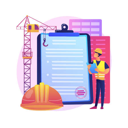 Building permit abstract concept vector illustration.