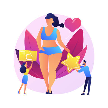 Body positive abstract concept vector illustration. Positive body image, diversity trend, positivity, acceptance of all body types, self-confidence, plus size brand promotion abstract metaphor.