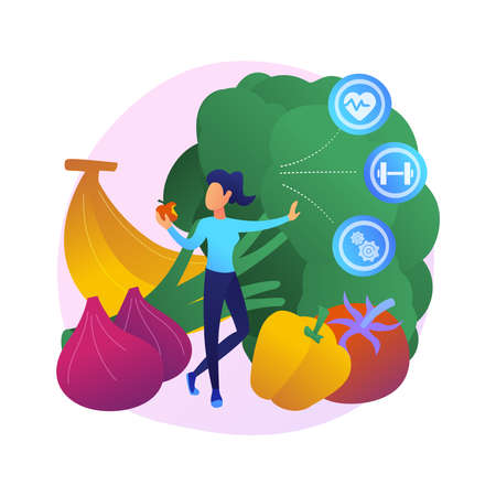 Raw veganism abstract concept vector illustration. Vectores