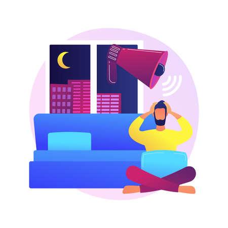 Sleep disturbances abstract concept vector illustration. Insomnia treatment, clinical diagnostic, digital overload, sleeping disorder, alerted pattern, rem, mental health abstract metaphor. Vektoros illusztráció