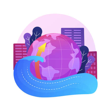 Sea level rise abstract concept vector illustration.