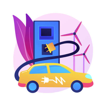 Electric vehicle use abstract concept vector illustration.