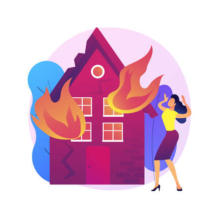 Fire consequences abstract concept vector illustration.