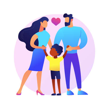 Caring adoptive fathers abstract concept vector illustration.