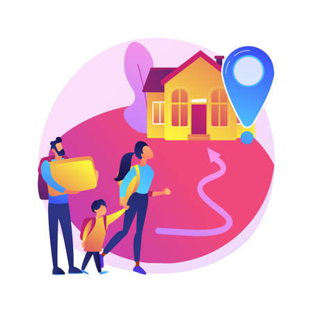 Resettlement of persons abstract concept vector illustration. Resettlement, refugee camp, displaced persons, movement of people, big crowd, bag and suitcases, new home abstract metaphor.