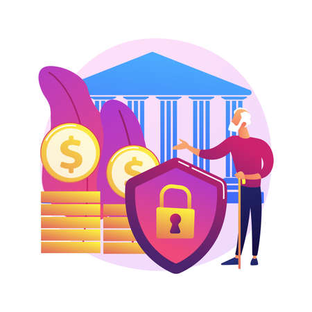 Elderly financial security abstract concept vector illustration.